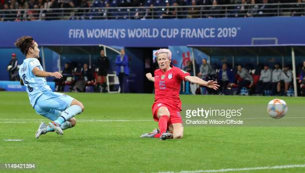 Megan Rapinoe of USA scores their 9th goal during the 2019 FIFA Women's World Cup France group F match between USA and Thailand at Stade Auguste...