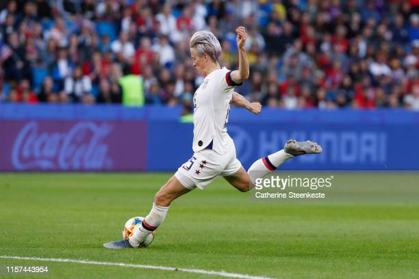 Megan Rapinoe of USA shoots the ball during the 2019 FIFA Women's World Cup France group F match between Sweden and USA at Stade Oceane on June 20...