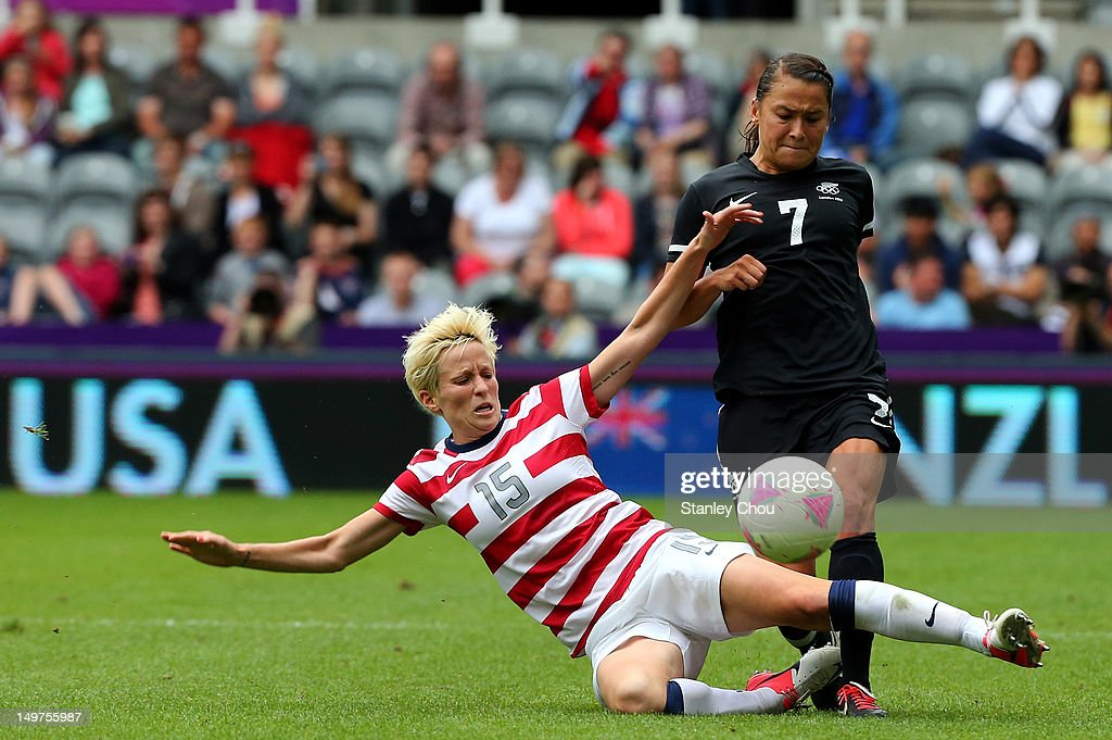 Megan Rapinoe of USA tackles Ali Riley of New Zealand during the Women's Football Quarter Final match between United States and New Zealand, on Day 7 of the London 2012 Olympic Games at St James' Park on August 3, 2012 in Newcastle upon Tyne, England.