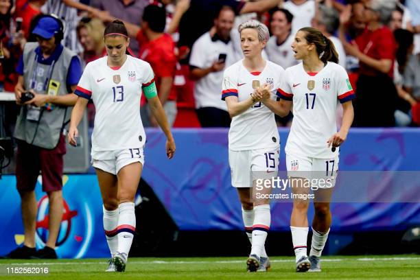 Megan Rapinoe of USA Women celebrates 01 with Tobin Heath of USA Women during the World Cup Women match between France v USA at the Parc des Princes...