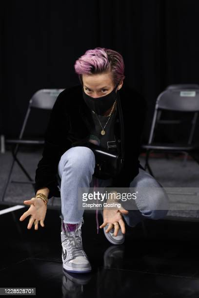 Megan Rapinoe poses for a photo during a game between the Las Vegas Aces and the Seattle Storm on September 13 2020 at Feld Entertainment Center in...