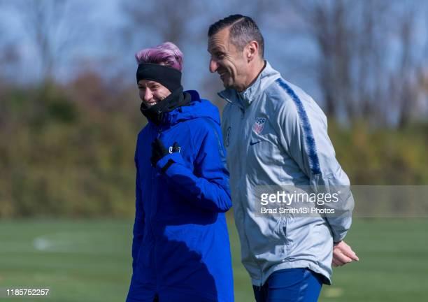 Megan Rapinoe talks with Vlatko Andonovski of the United States at Columbus Crew Training Facility on November 3 2019 in Columbus Ohio