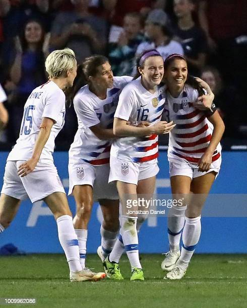 Megan Rapinoe Tobin Heath Rose Lavelle and Alex Morgan of the United States celebrate Lavells goal against Brazil during the 2018 Tournament Of...