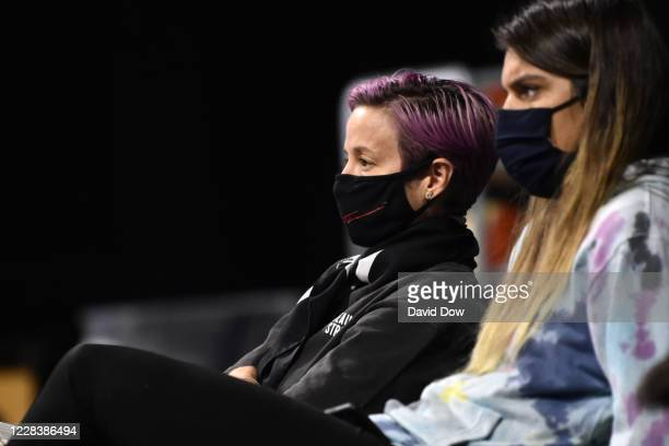 Megan Rapinoe watches the game between the Seattle Storm and Minnesota Lynx on September 6 2020 at Feld Entertainment Center in Palmetto Florida NOTE...