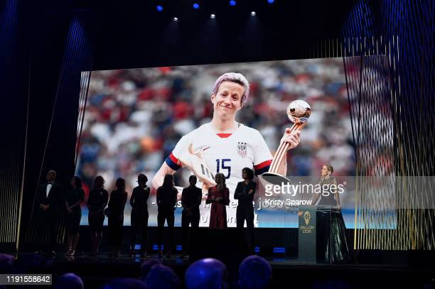 Megan Rapinoe, who was unable to except her award in person, wins the Ballon D'Or award during the Ballon D'Or Ceremony at Theatre Du Chatelet on...