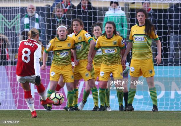 LR Megan Robinson AnnMarie Heatherson and ThierryJo Gauvain of Yeovil Town Ladies during Women's Super League 1 match between Arsenal against Yeovil...
