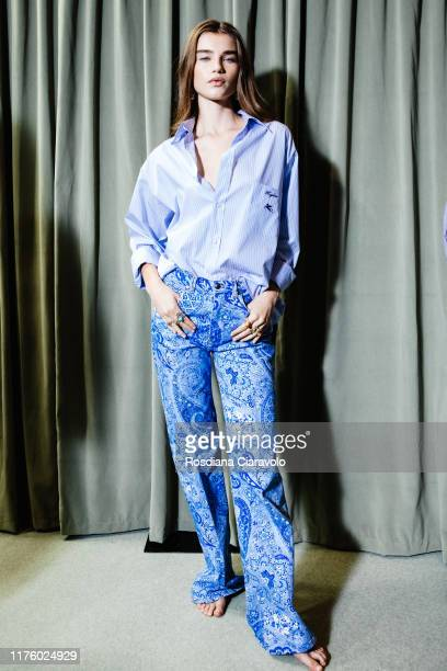 Megan Roche poses at backstage for Etro fashion show during the Milan Fashion Week Spring/Summer 2020 on September 20 2019 in Milan Italy