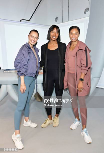 Megan Roup, Leta Shy, and Allyson Felix attend a work out led by Megan Roup from The Sculpt Society as Olympian Allyson Felix opens Saysh's new...