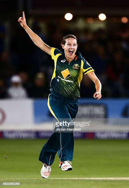 Megan Schutt of Ausralia celebrates bowling out Katherine Brunt of England during the 2nd NatWest T20 of the Women's Ashes Series between England and...
