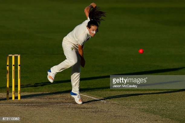 Megan Schutt of Australia bowls during day four of the Women's Test match between Australia and England at North Sydney Oval on November 12 2017 in...