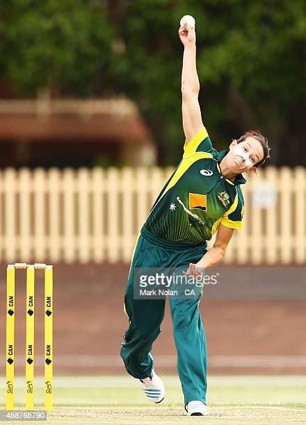 Megan Schutt of Australia bowls during game one of the women's One Day International series between Australia and the West Indies at Hurstville Oval...