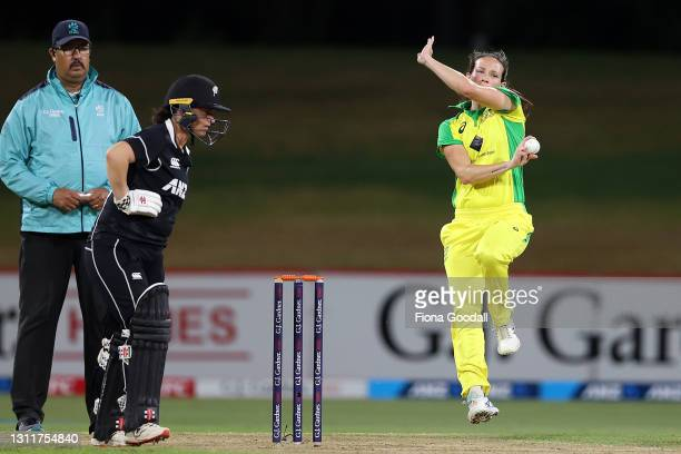 Megan Schutt of Australia bowls during game three of the One Day International series between the New Zealand White Ferns and Australia at Bay Oval...