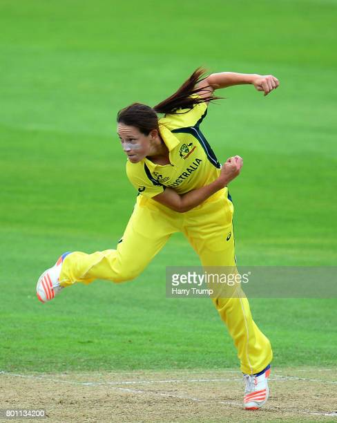 Megan Schutt of Australia bowls during the ICC Women's World Cup 2017 match between Australia and West Indies at The Cooper Associates County Ground...
