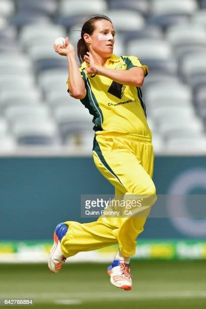 Megan Schutt of Australia bowls during the second Women's International Twenty20 match between Australia and New Zealand at Simonds Stadium on...