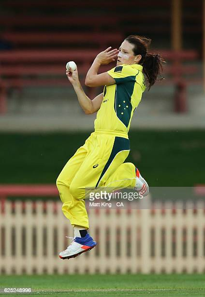 Megan Schutt of Australia bowls during the women's One Day International match between the Australian Southern Stars and South Africa at North Sydney...