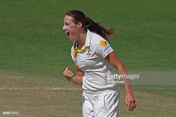 Megan Schutt of Australia celebrates after dismissing England's Lauren Winfield during day four of the Kia Women's Test of the Women's Ashes Series...