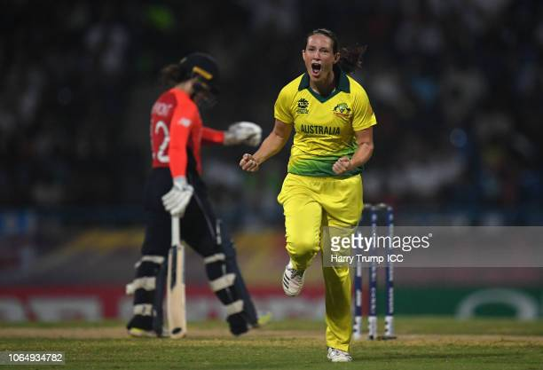 Megan Schutt of Australia celebrates after dismissing Tammy Beaumont of England during the ICC Women's World T20 2018 Final between Australia and...