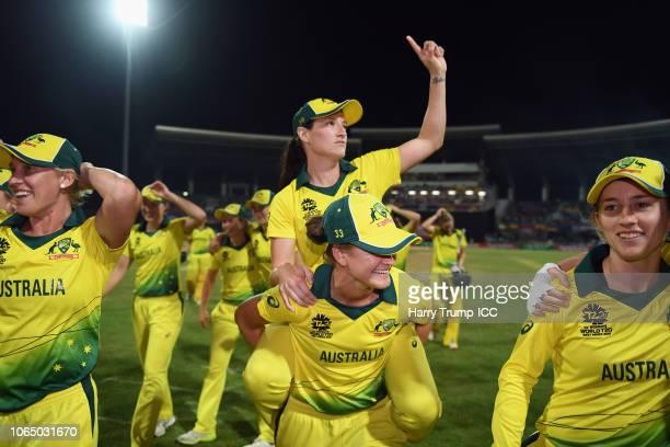 Megan Schutt of Australia celebrates during the ICC Women's World T20 2018 Final between Australia and England at Sir Vivian Richards Cricket Ground...