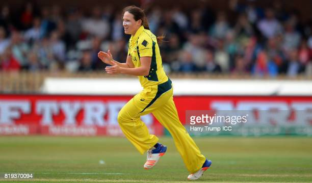 Megan Schutt of Australia celebrates the wicket of Smriti Mandhana of India during the ICC Women's World Cup 2017 match between Australia and India...
