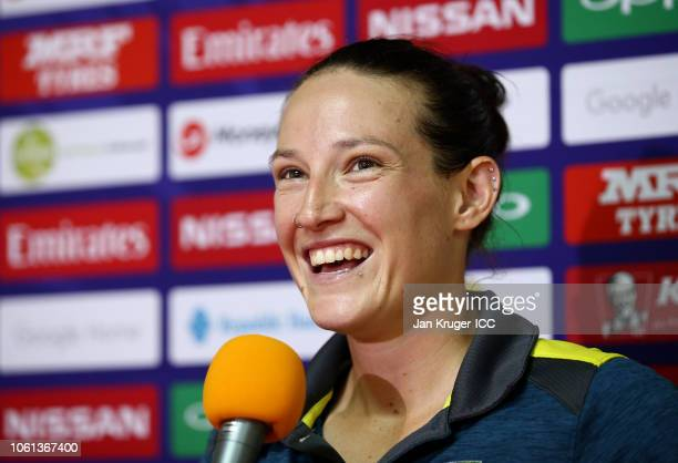 Megan Schutt of Australia faces the media after the ICC Women's World T20 2018 match between Australia and New Zealand at Guyana National Stadium on...