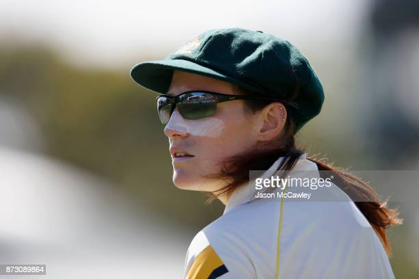 Megan Schutt of Australia looks on during day four of the Women's Test match between Australia and England at North Sydney Oval on November 12 2017...