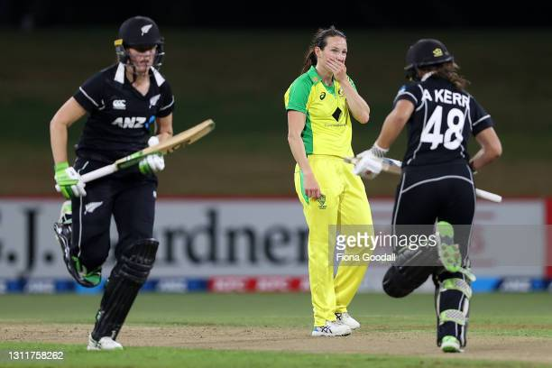 Megan Schutt of Australia reacts during game three of the One Day International series between the New Zealand White Ferns and Australia at Bay Oval...