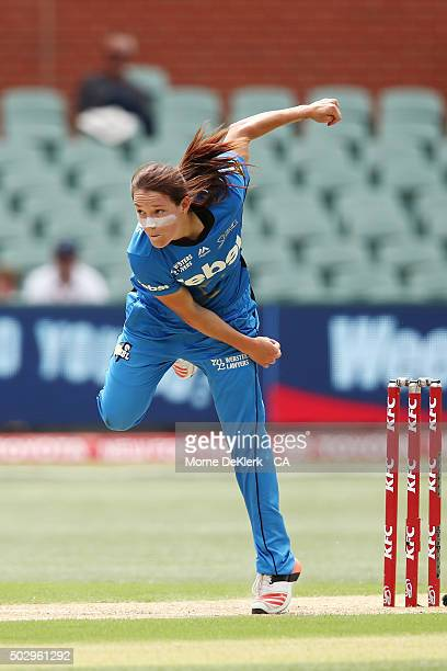 Megan Schutt of the Adelaide Strikers bowls during the Women's Big Bash League match between the Adelaide Strikers and the Perth Scorchers at...