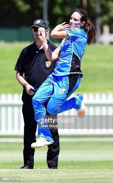Megan Schutt of the Adelaide Strikers bowls during the Women's Big Bash League WBBL match between the Strikers and the Hurricanes at Gliderol Stadium...