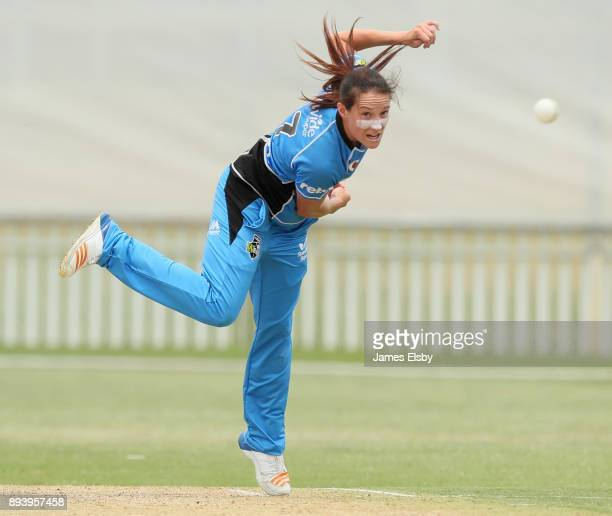 Megan Schutt of the Adelaide Strikers bowls during the Women's Big Bash League match between the Adelaide Strikers and the Melbourne Renegades at...