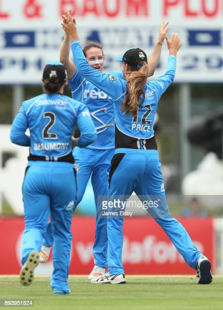 Megan Schutt of the Adelaide Strikers celebrates a wicket during the Women's Big Bash League match between the Adelaide Strikers and the Melbourne...