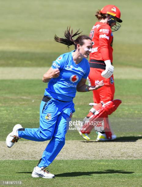 Megan Schutt of the Adelaide Strikers celebrates after taking the wicket of Sophie Molineux of the Melbourne Renegades during the Women's Big Bash...