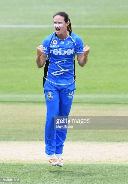 Megan Schutt of the Adelaide Strikers celebrates after taking the wicket of Kris Britt of the Melbourne Renegades during the Women's Big Bash League...