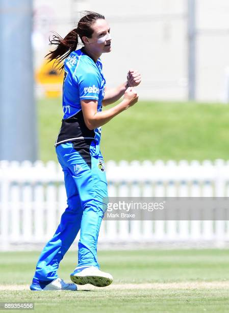 Megan Schutt of the Adelaide Strikers celebrates taking a wicket during the Women's Big Bash League WBBL match between the Strikers and the...