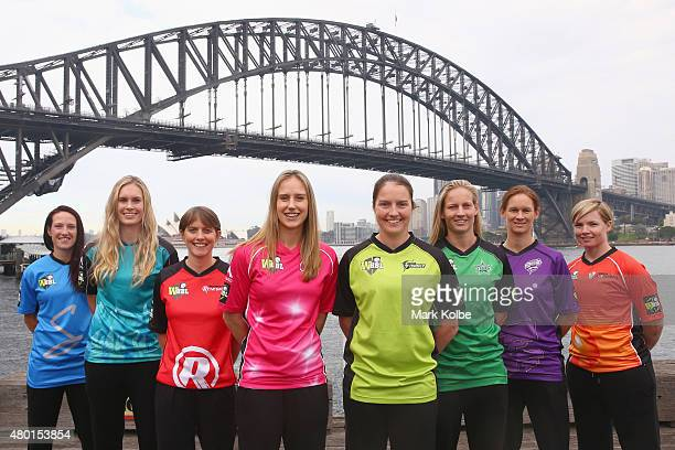Megan Schutt of the Adelaide Strikers Holly Ferling of the Brisbane Heat Sarah Elliott of the Melbourne Renegades Ellyse Perry of the Sydney Sixers...