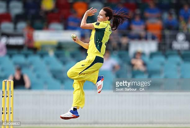 Megan Schutt of the Australian Southern Stars bowls during the women's one day international match between the Australian Southern Stars and South...