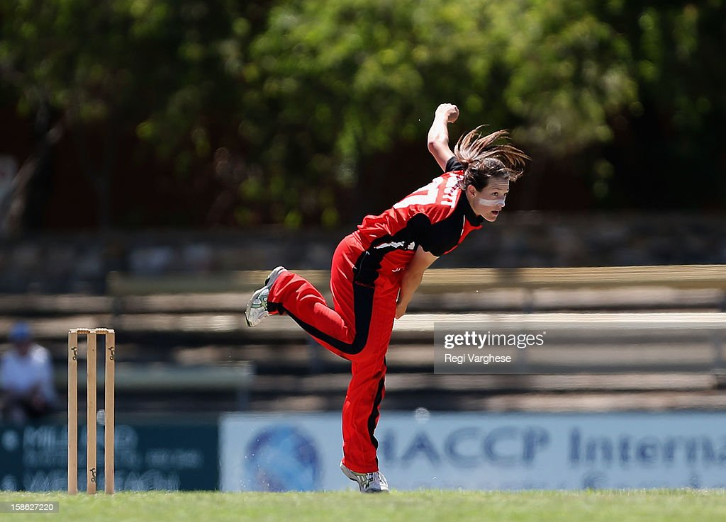 Megan Schutt of the Scorpions bowling during the WNCL match between the South Australia Scorpions and the New South Wales Breakers at Prospect Oval on December 22, 2012 in Adelaide, Australia.