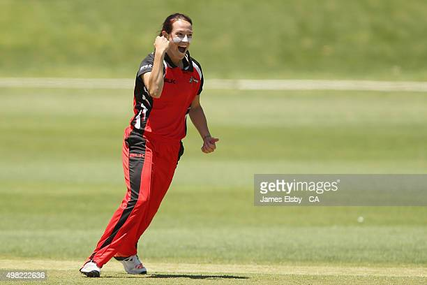 Megan Schutt of the Scorpions celebrates a wicket during the WNCL match between South Australia and Tasmania at Railways Oval on November 22 2015 in...