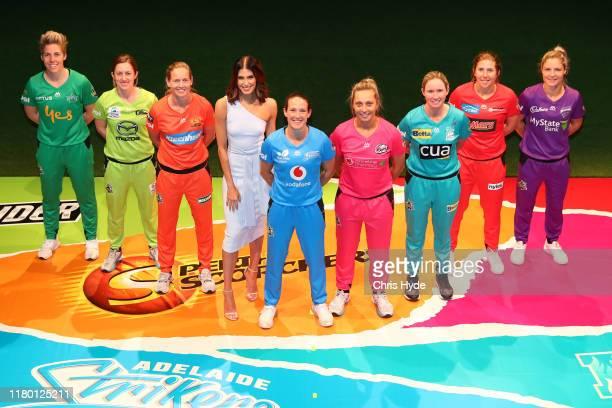 Megan Schutt of the Strikers, Beth Mooney of the Heat, Nicola Carey of the Hurricanes, Georgia Wareham of Renegades, Elyse Villani of Stars, Meg...