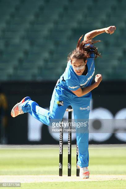 Megan Schutt of the Strikers bowls during the Women's Big Bash League match between the Melbourne Stars and the Adelaide Strikers at Melbourne...
