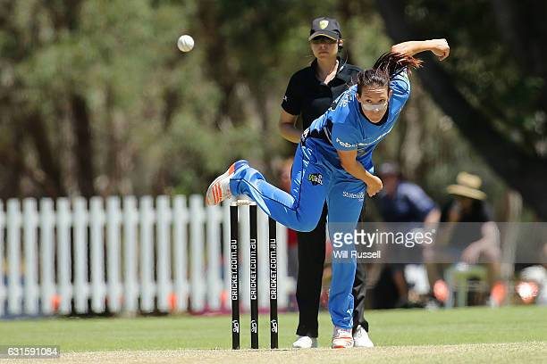 Megan Schutt of the Strikers bowls during the Women's Big Bash League match between the Adelaide Strikers and the Melbourne Stars at Lilac Hill on...
