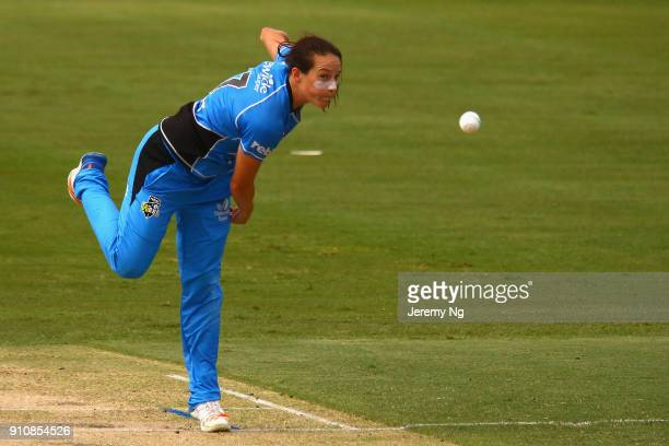 Megan Schutt of the Strikers bowls during the Women's Big Bash League match between the Adelaide Strikers and the Sydney Sixers at Hurstville Oval on...