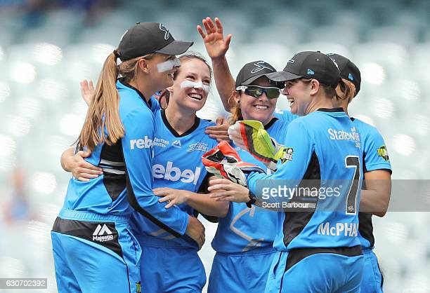 Megan Schutt of the Strikers celebrates after dismissing Chloe Piparo of the Scorchers during the WBBL match between the Strikers and Scorchers at...