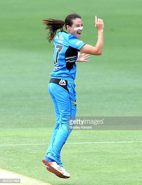 Megan Schutt of the Strikers celebrates taking the wicket of Kirby Short of the Heat during the Women's Big Bash League match between the Adelaide...