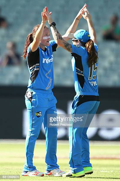 Megan Schutt of the Strikers celebrates the wicket of Emma Inglis of the Stars during the Women's Big Bash League match between the Melbourne Stars...