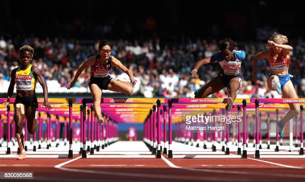 Megan Simmonds of Jamaica Ayako Kimura of JapanTiffany Porter of Great Britain and Eefje Boons of the Netherlands compete in the Women's 100 metres...
