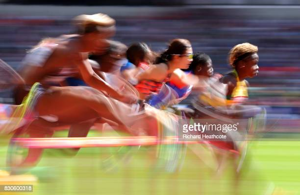 Megan Simmonds of Jamaica competes in the Women's 100 metres hurdlesduring day eight of the 16th IAAF World Athletics Championships London 2017 at...