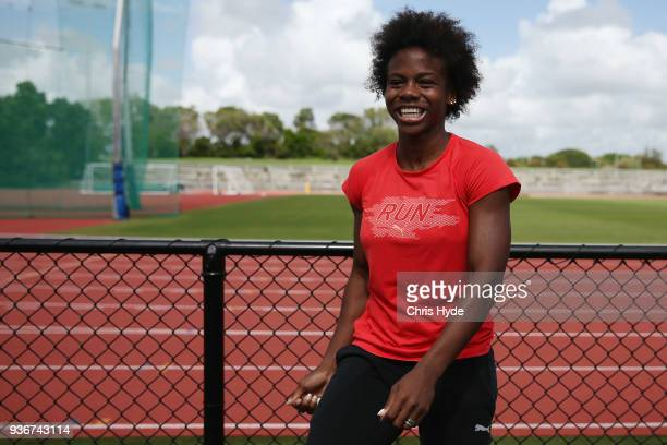 Megan Simmonds of Jamaica speaks to media after a training session ahead of the 2018 Commonwealth Games at Runaway Bay Sports Centre on March 23 2018...