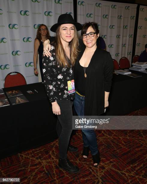 Megan Smith of Massachusetts poses with producer Emily Andras during the ClexaCon 2018 convention at the Tropicana Las Vegas on April 6 2018 in Las...
