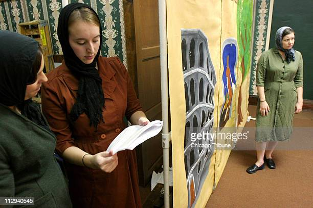 Megan StewartFelt far right portrays Irena Sendler as she rehearses with Jessica Ripper left and Sabrina Murphy during practice of their production...