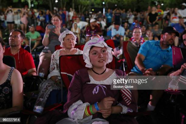 Megan Stinker enjoys the festivities during the Boston Pops Fireworks Spectacular at the Hatch Shell on the Esplanade in Boston MA on July 04 2018